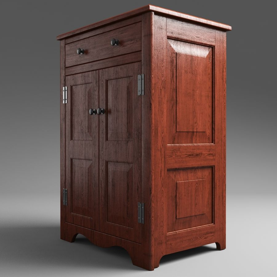 Wooden Cabinet royalty-free 3d model - Preview no. 3