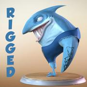 Maya Cartoon Character Shark 3d model