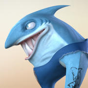 Maya Cartoon Character Shark 3d model
