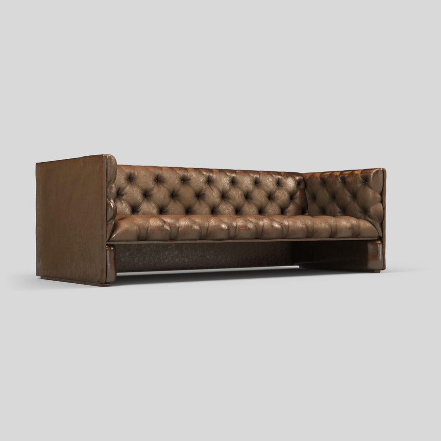 Leather Sofa (Brown) royalty-free 3d model - Preview no. 7