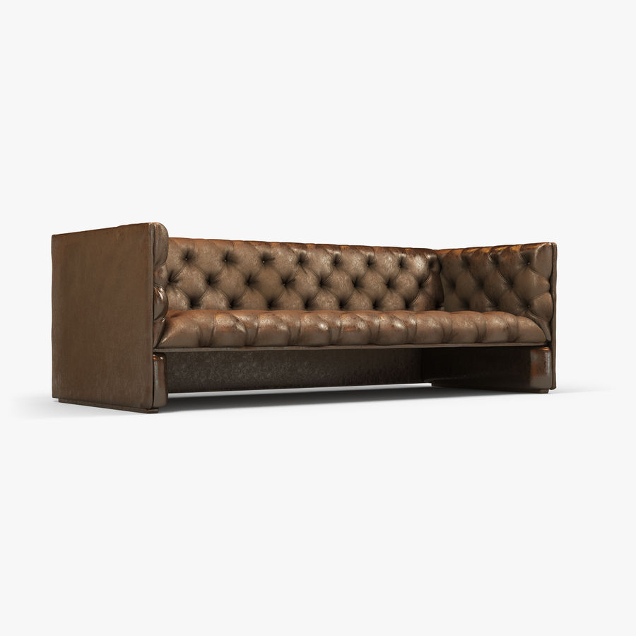 Leather Sofa (Brown) royalty-free 3d model - Preview no. 6