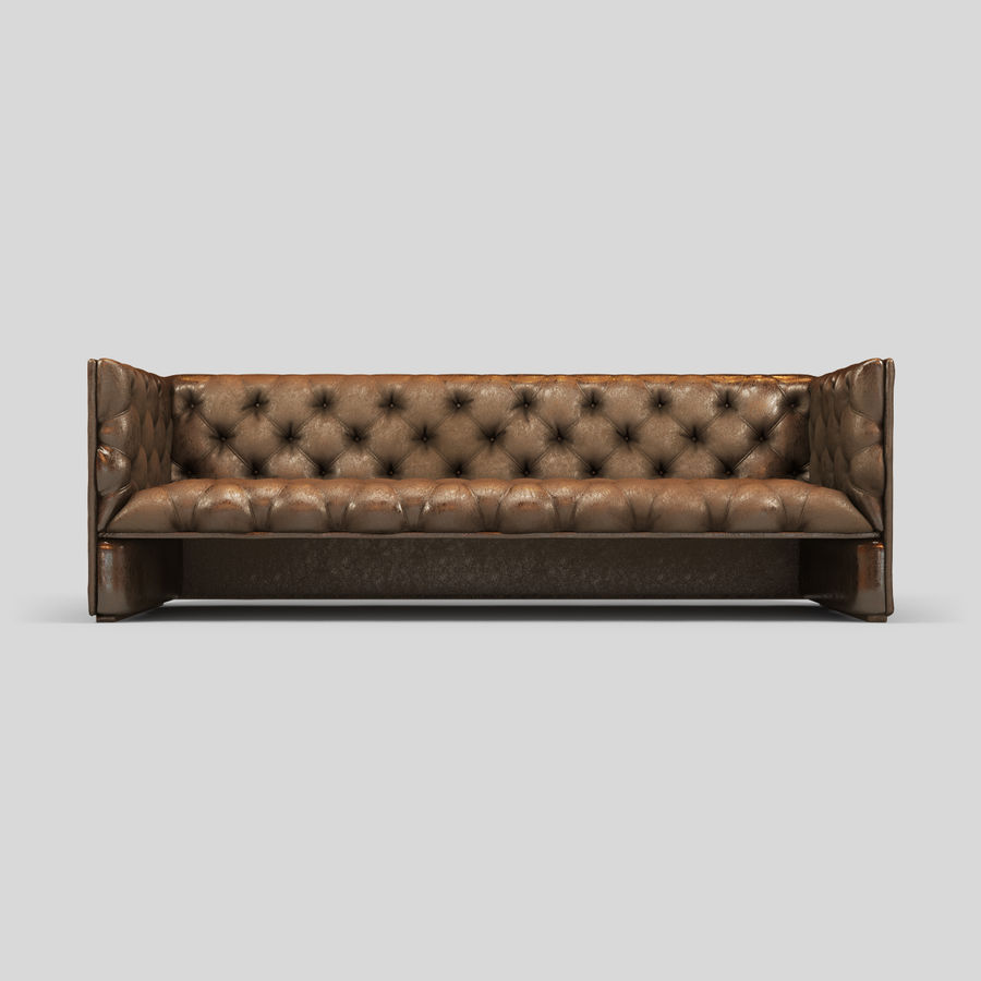 Leather Sofa (Brown) royalty-free 3d model - Preview no. 5