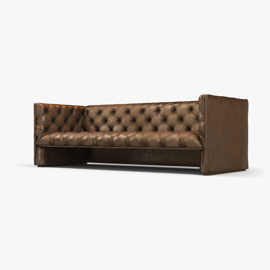 Leather Sofa (Brown) royalty-free 3d model - Preview no. 8