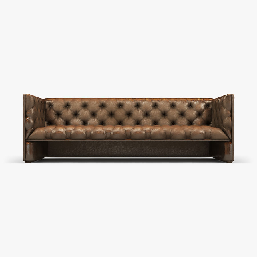 Leather Sofa (Brown) royalty-free 3d model - Preview no. 4