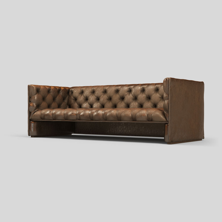 Leather Sofa (Brown) royalty-free 3d model - Preview no. 9