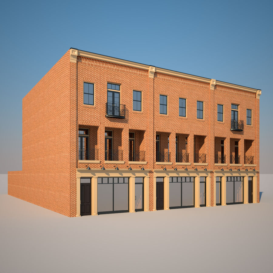 BRICK BUILDING royalty-free 3d model - Preview no. 3
