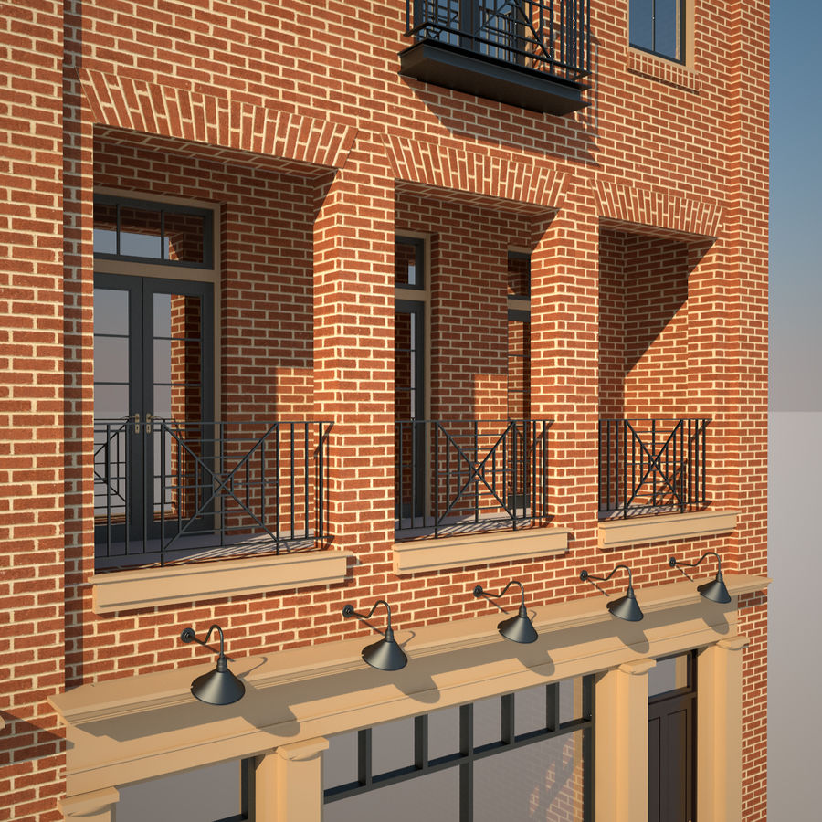BRICK BUILDING royalty-free 3d model - Preview no. 12