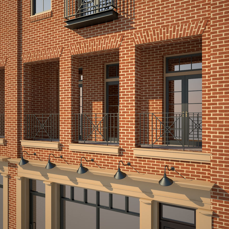 BRICK BUILDING royalty-free 3d model - Preview no. 13