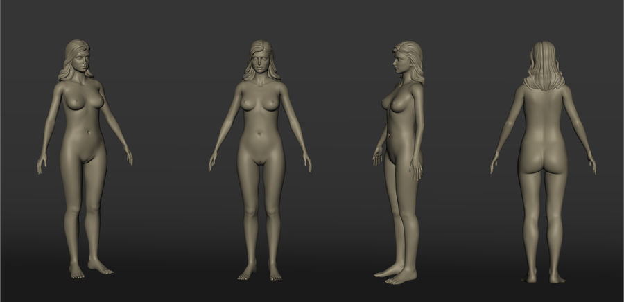 Nu féminin royalty-free 3d model - Preview no. 6