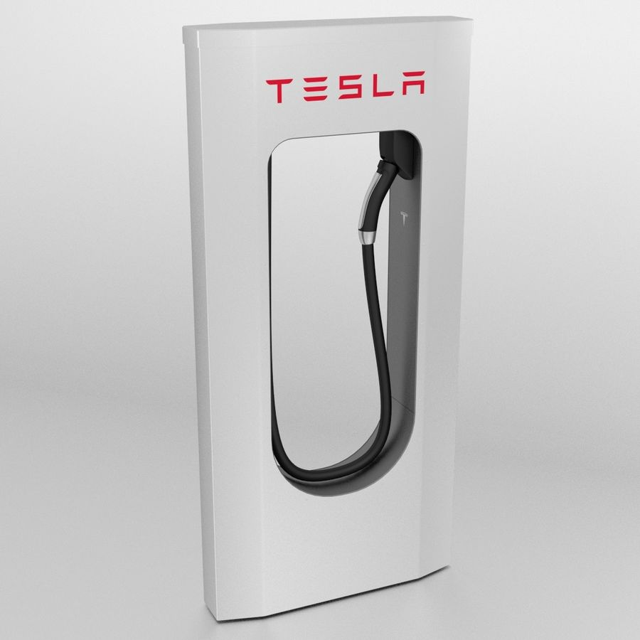 Tesla Supercharger royalty-free 3d model - Preview no. 3