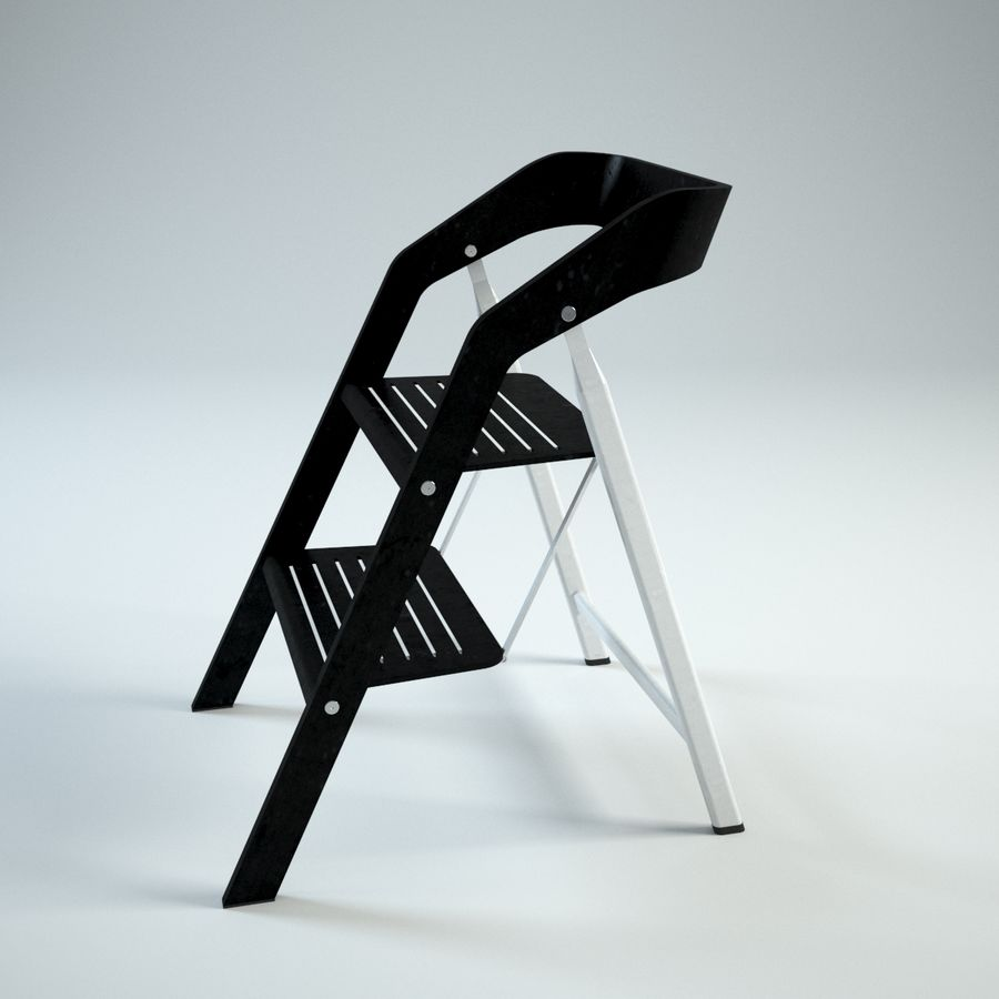 Sensational Vintage Usit Stepladder Chair 2 Step Version 3D Model 39 Caraccident5 Cool Chair Designs And Ideas Caraccident5Info