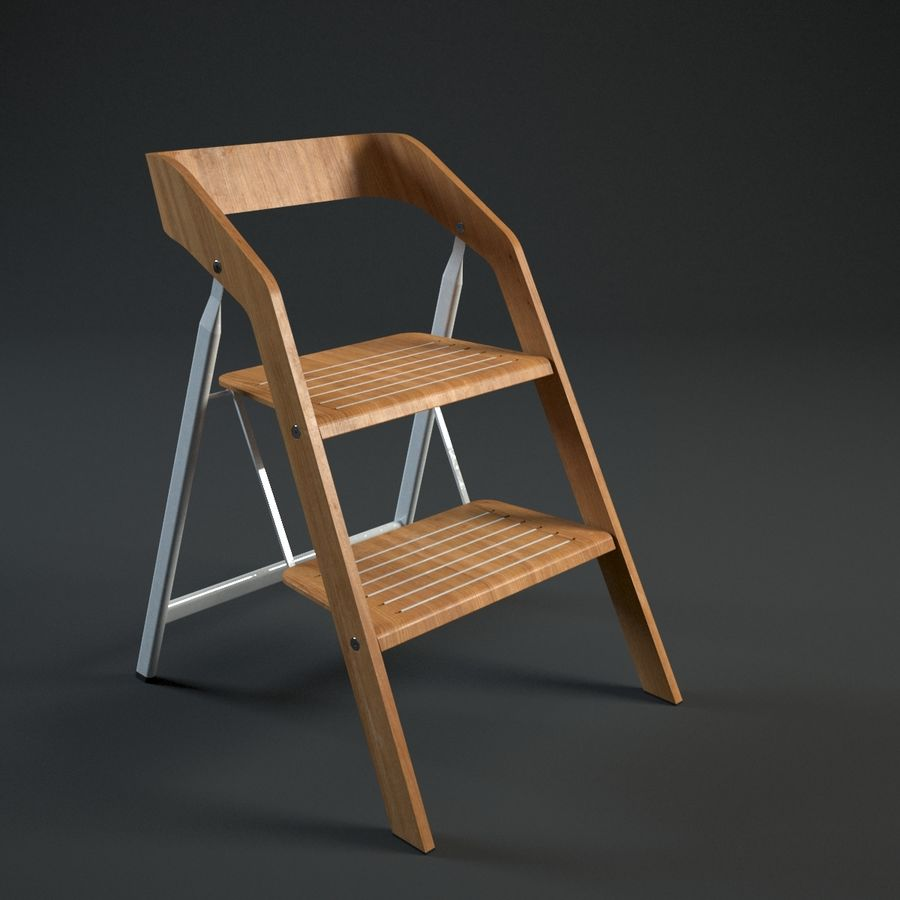 Awe Inspiring Vintage Usit Stepladder Chair 2 Step Version 3D Model 39 Caraccident5 Cool Chair Designs And Ideas Caraccident5Info