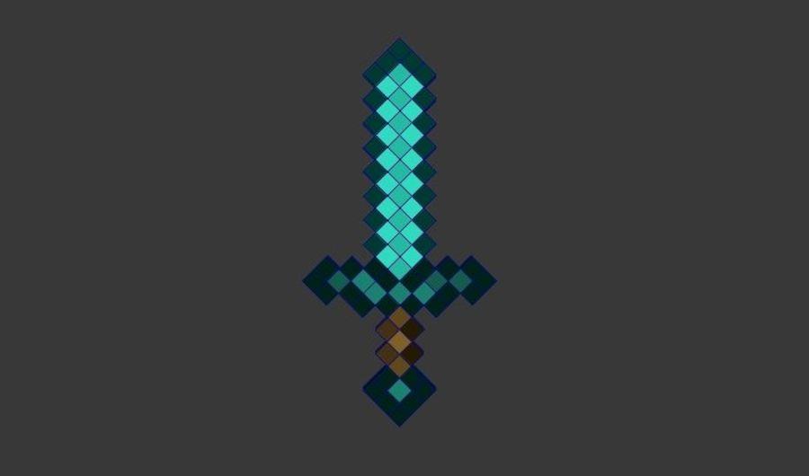 Épée de diamant Minecraft royalty-free 3d model - Preview no. 4
