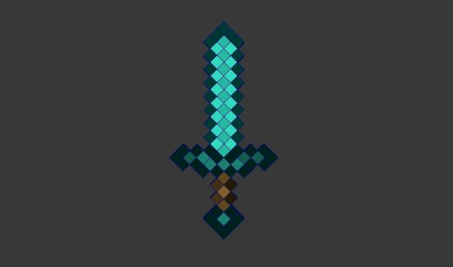 Épée de diamant Minecraft royalty-free 3d model - Preview no. 4