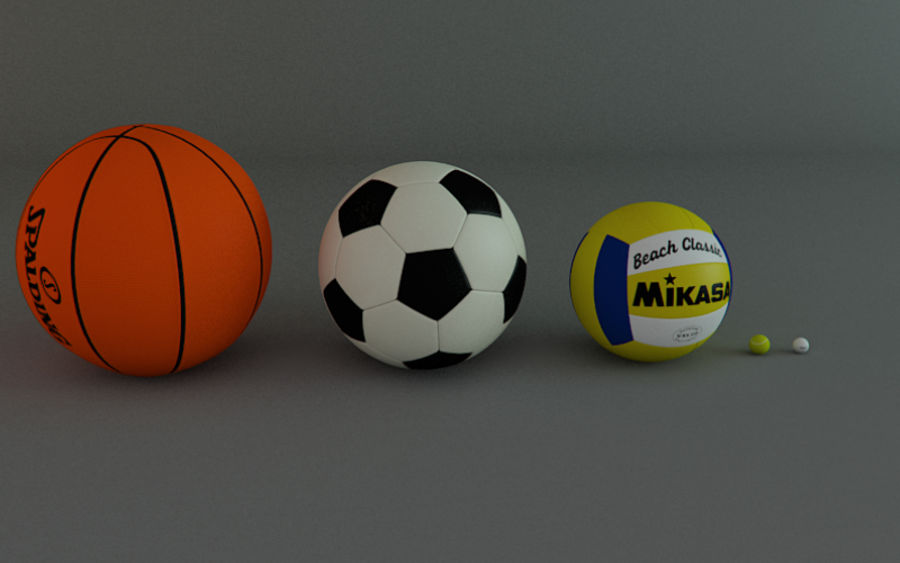 Collezione Sport Balls royalty-free 3d model - Preview no. 2
