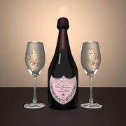 Champagne and Glasses 3d model