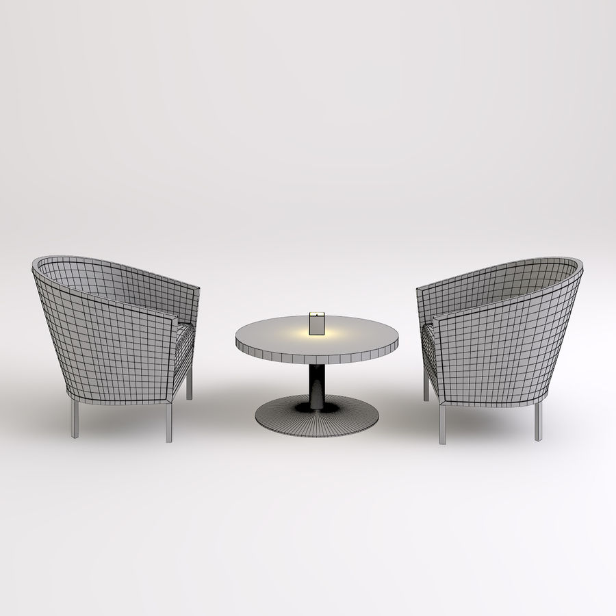 Stolik i krzesła royalty-free 3d model - Preview no. 2