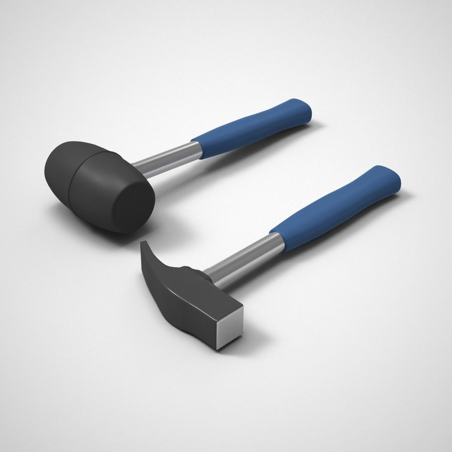 Hammer and mallet royalty-free 3d model - Preview no. 1