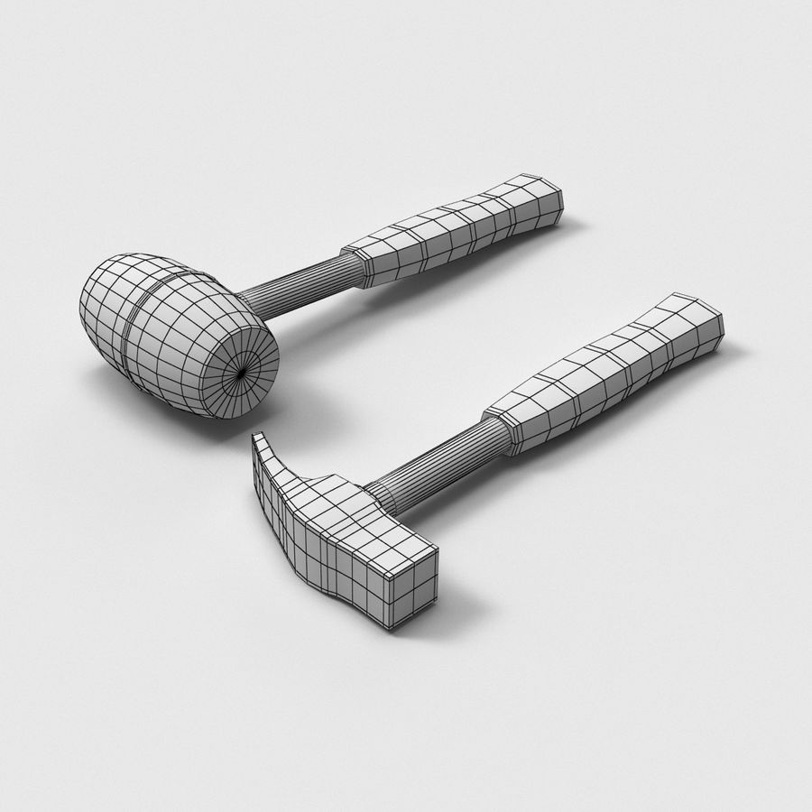 Hammer and mallet royalty-free 3d model - Preview no. 4
