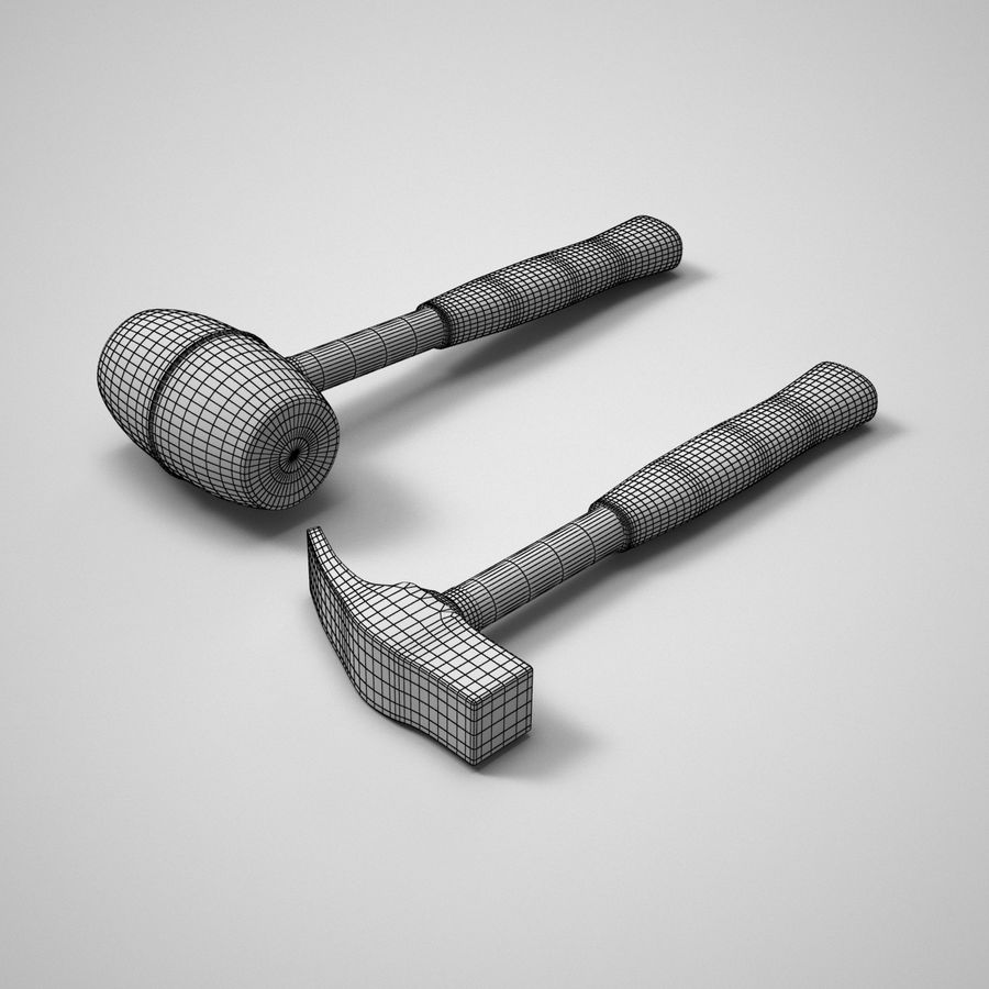Hammer and mallet royalty-free 3d model - Preview no. 3