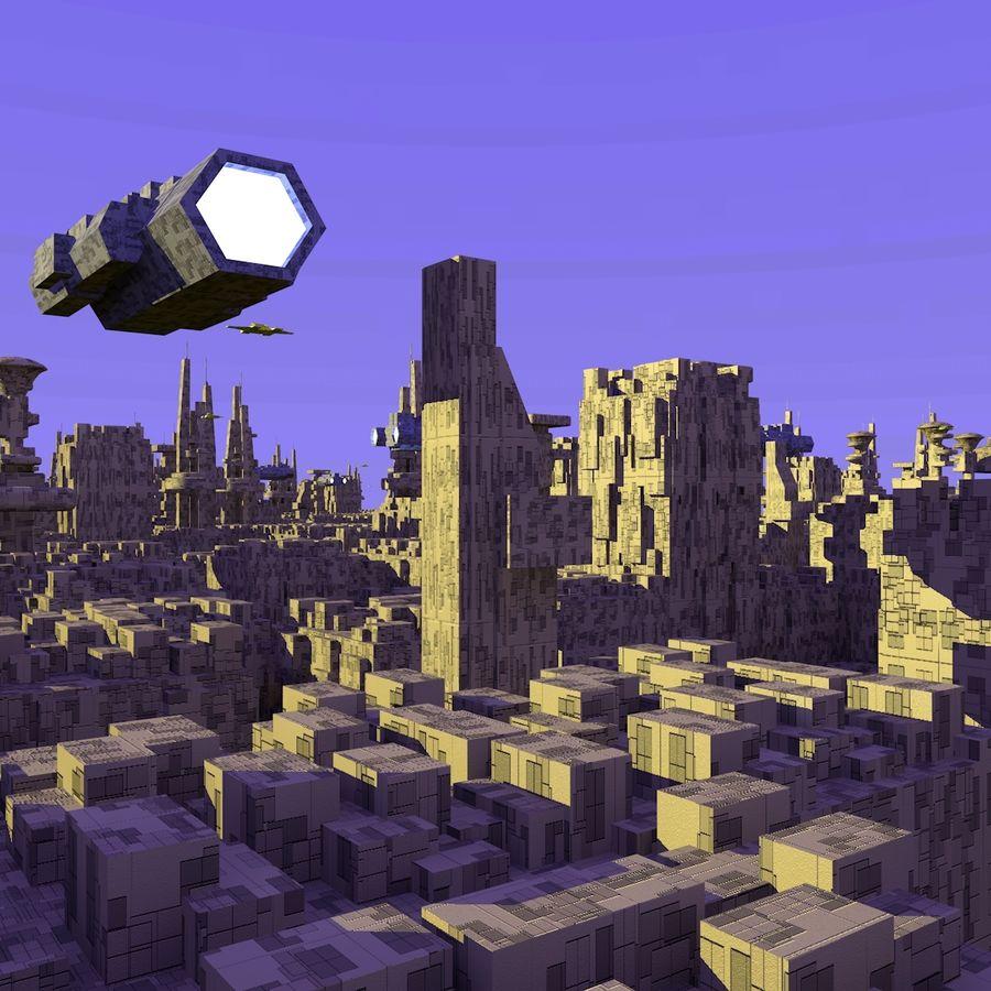 Sci-Fi City royalty-free 3d model - Preview no. 10