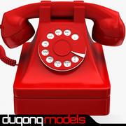 复古电话红 3d model