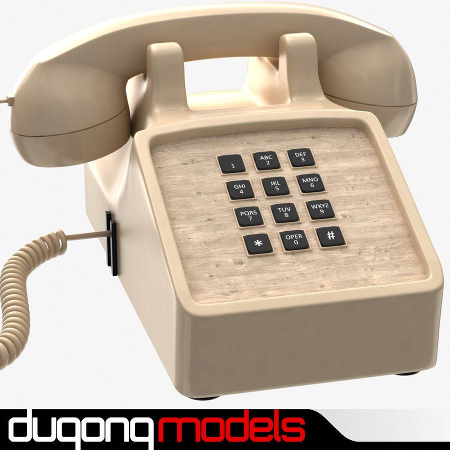Traditional Corded Phone royalty-free 3d model - Preview no. 1