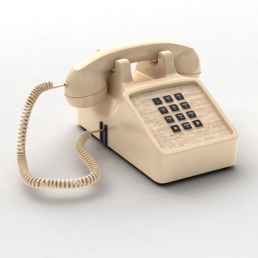 Traditional Corded Phone royalty-free 3d model - Preview no. 3