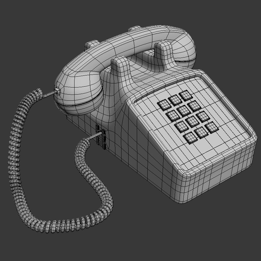 Traditional Corded Phone royalty-free 3d model - Preview no. 10