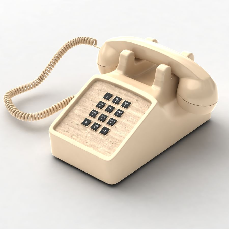 Traditional Corded Phone royalty-free 3d model - Preview no. 4