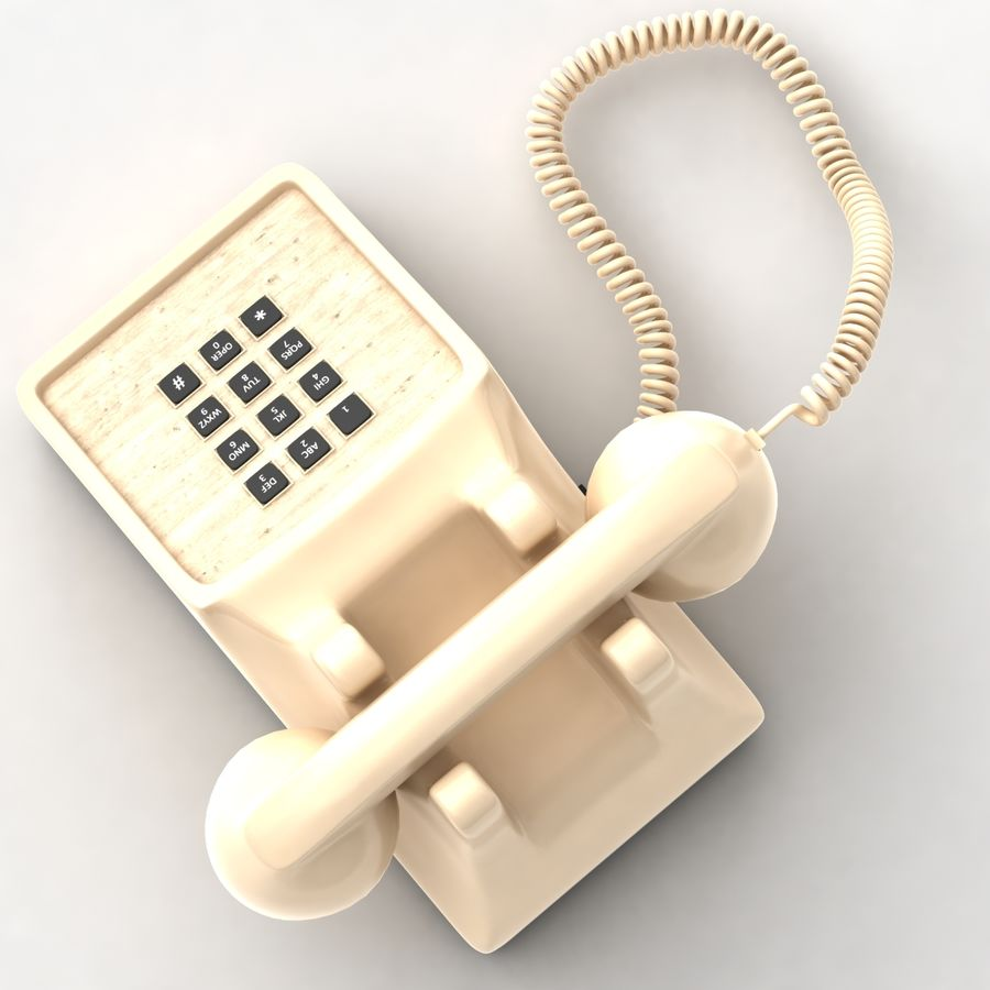 Traditional Corded Phone royalty-free 3d model - Preview no. 5