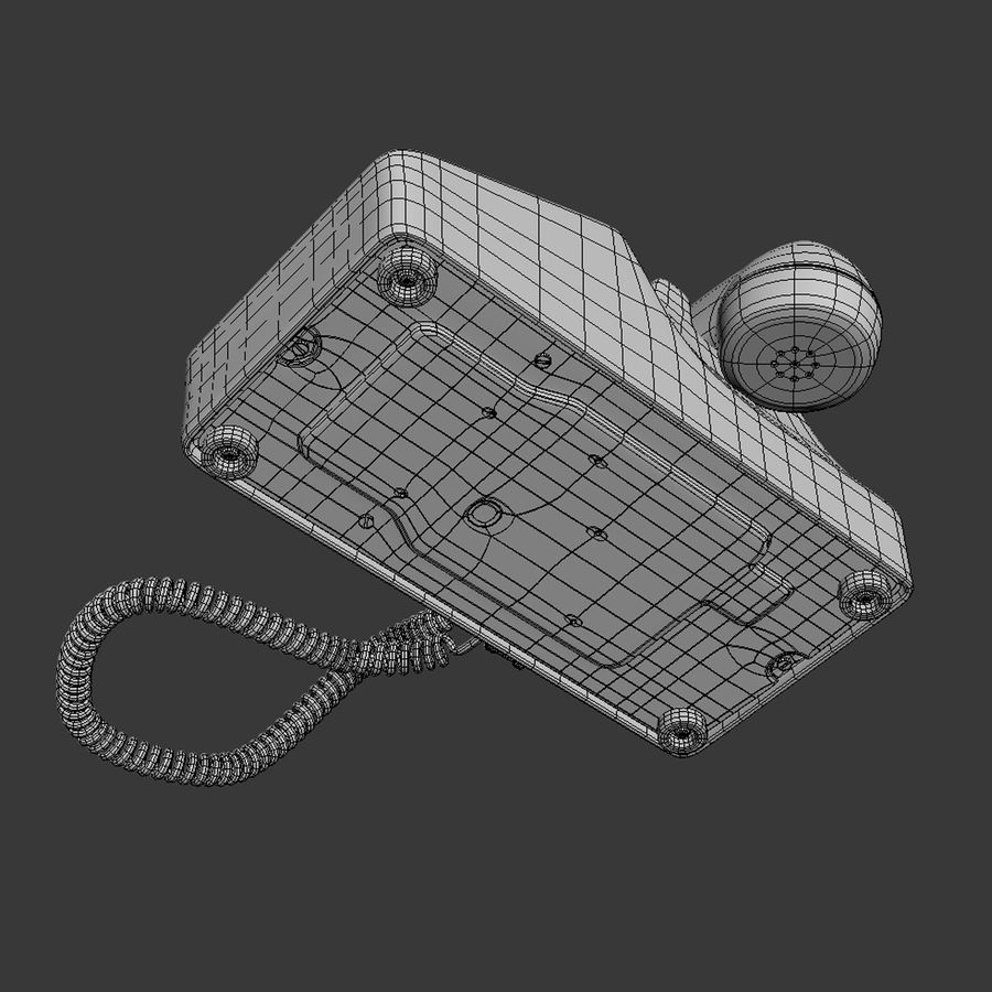 Traditional Corded Phone royalty-free 3d model - Preview no. 11