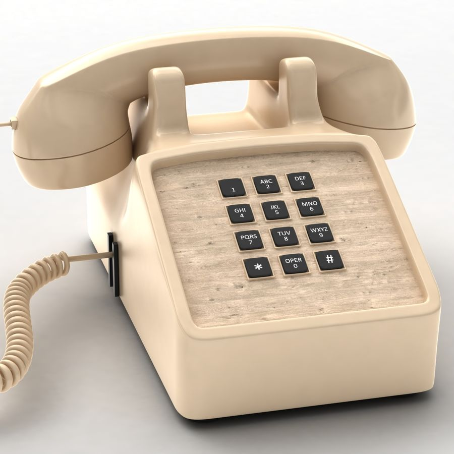Traditional Corded Phone royalty-free 3d model - Preview no. 2