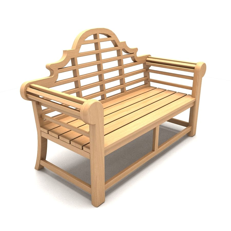 Wooden Bench 2 royalty-free 3d model - Preview no. 3
