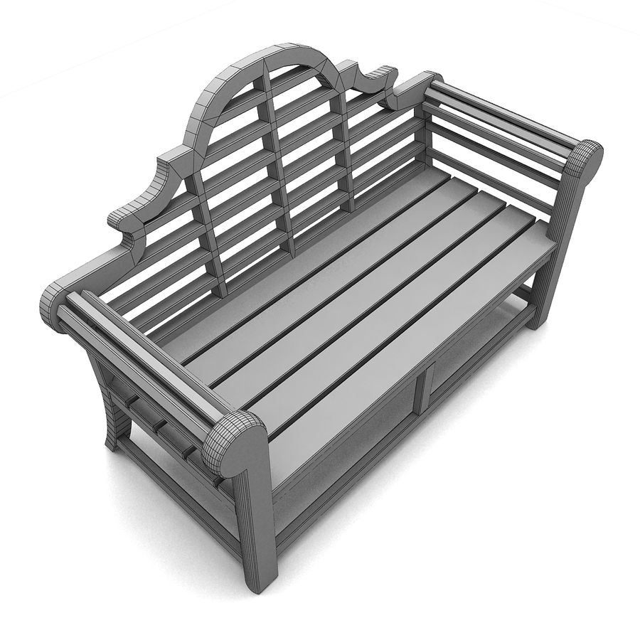 Wooden Bench 2 royalty-free 3d model - Preview no. 6