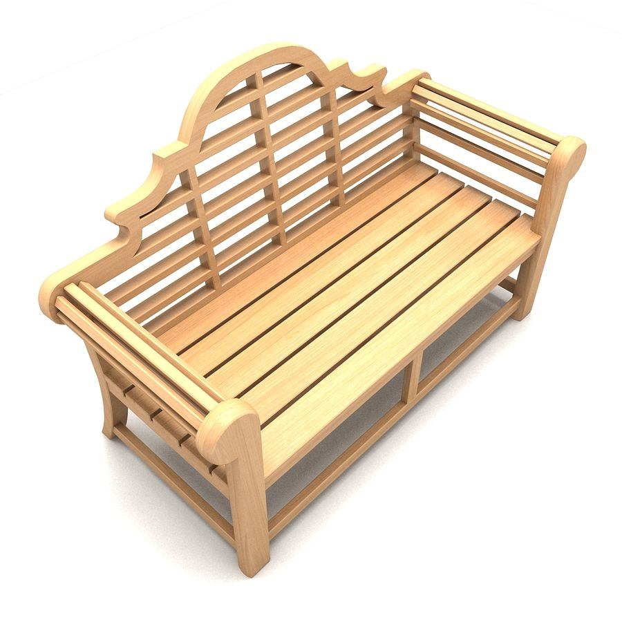 Wooden Bench 2 royalty-free 3d model - Preview no. 5