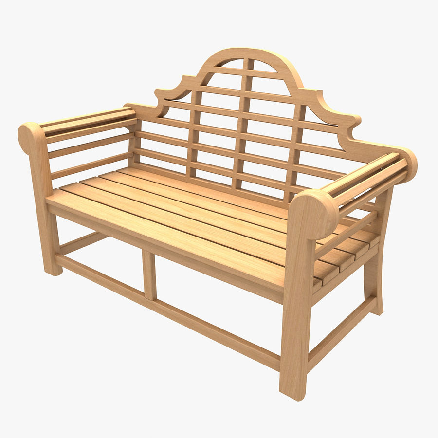 Wooden Bench 2 royalty-free 3d model - Preview no. 1
