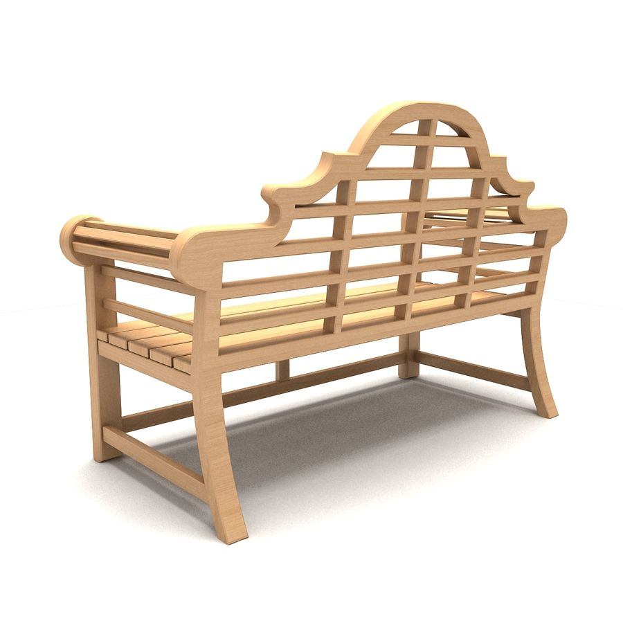 Wooden Bench 2 royalty-free 3d model - Preview no. 4