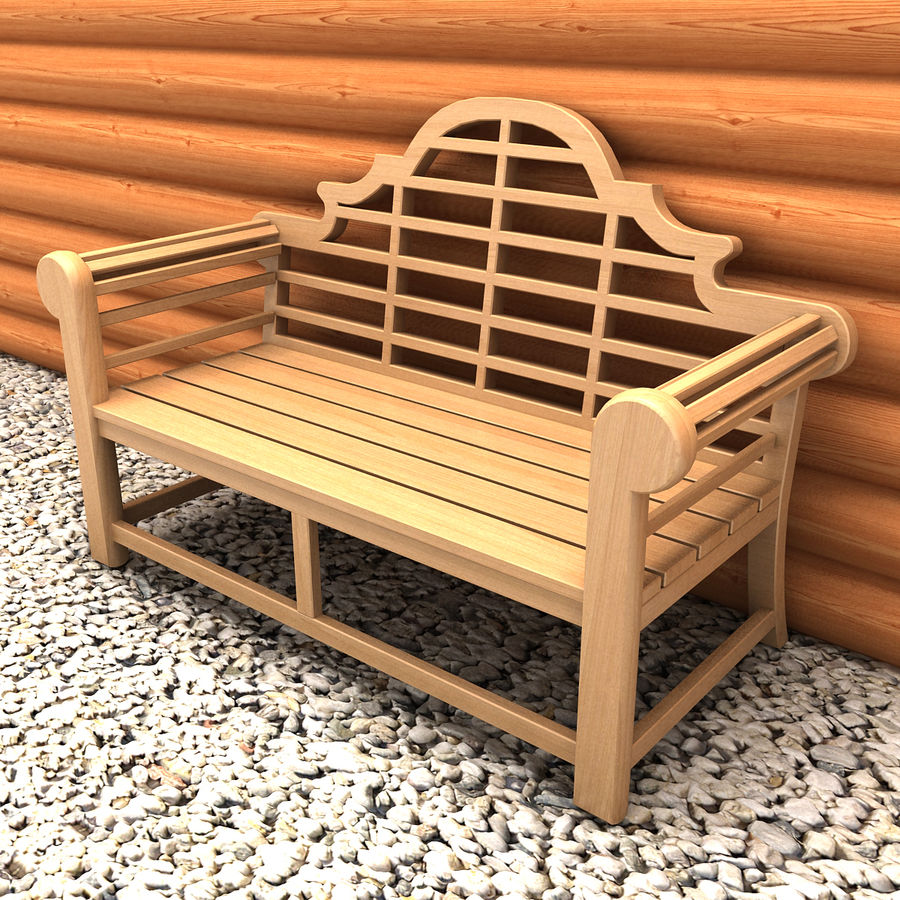 Wooden Bench 2 royalty-free 3d model - Preview no. 2