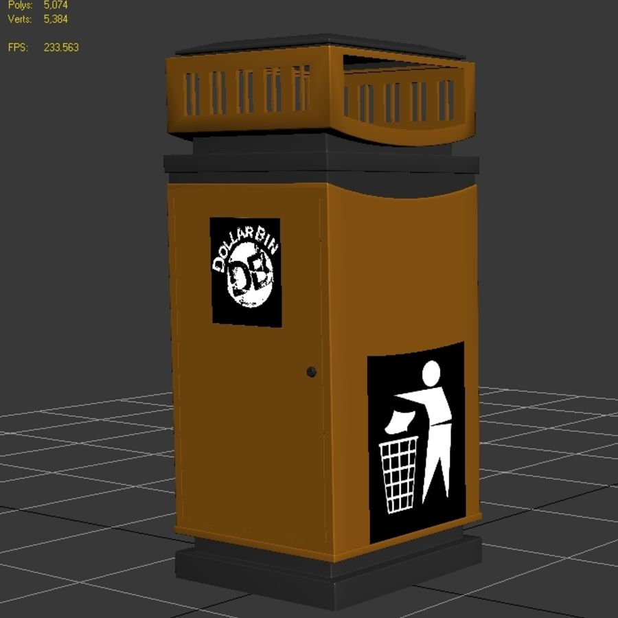 Dustbin royalty-free 3d model - Preview no. 7