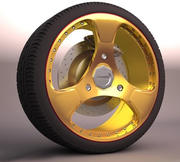 Gold Car Wheel 3d model