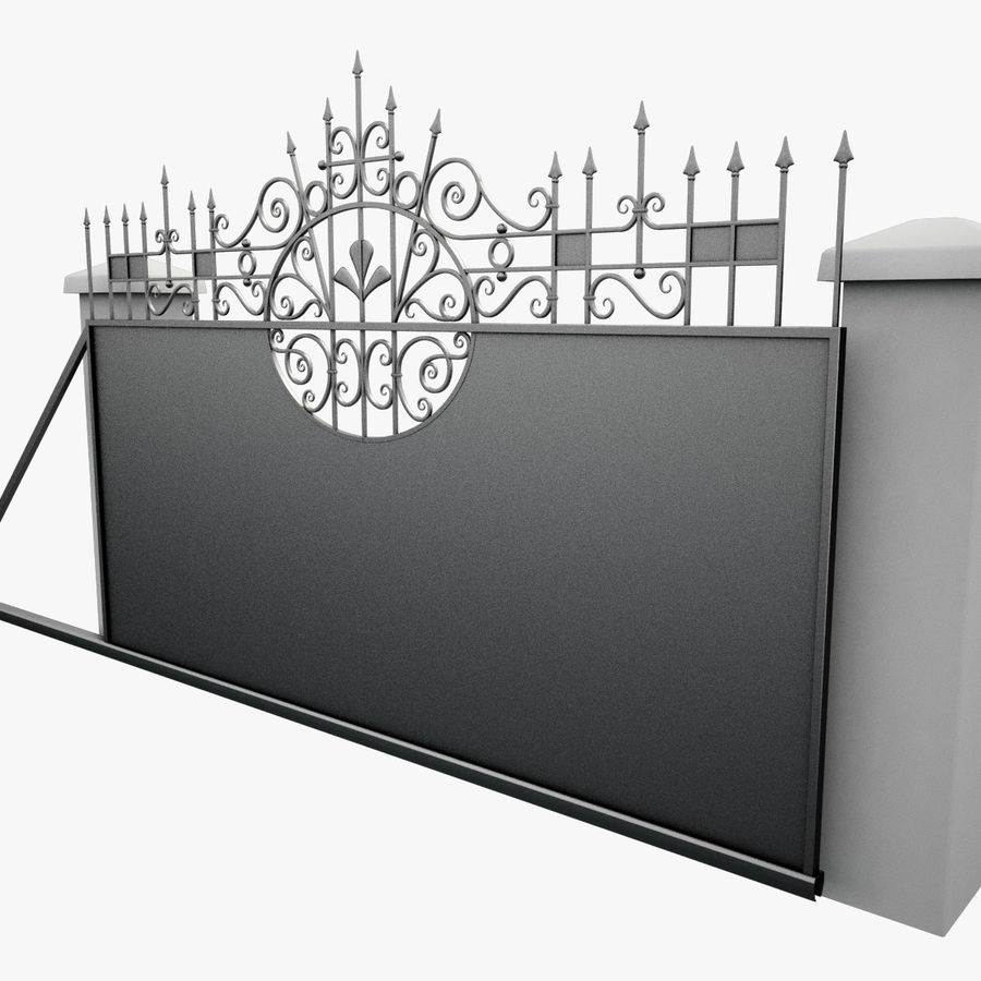 Wrought Iron Driveway Gate royalty-free 3d model - Preview no. 12
