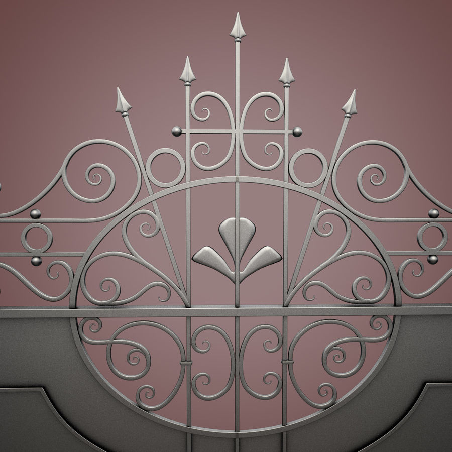 Wrought Iron Driveway Gate royalty-free 3d model - Preview no. 14