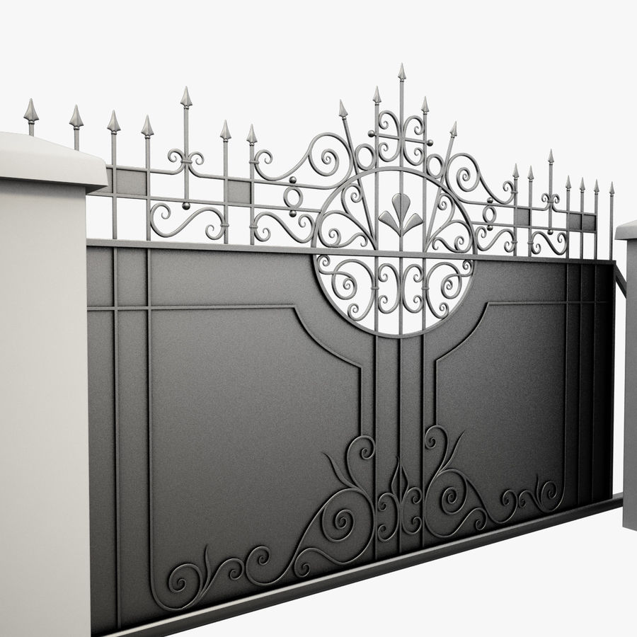 Wrought Iron Driveway Gate royalty-free 3d model - Preview no. 5