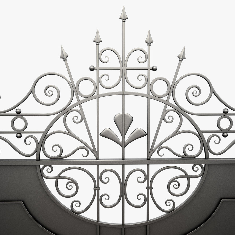 Wrought Iron Driveway Gate royalty-free 3d model - Preview no. 7
