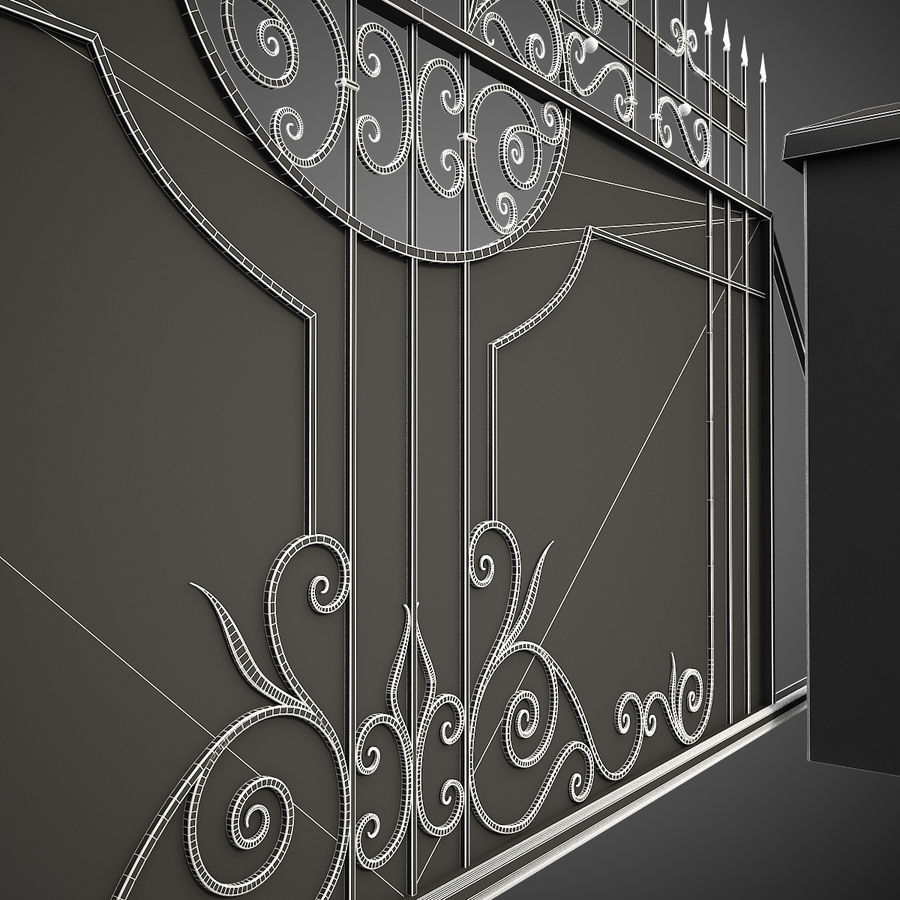 Wrought Iron Driveway Gate royalty-free 3d model - Preview no. 18