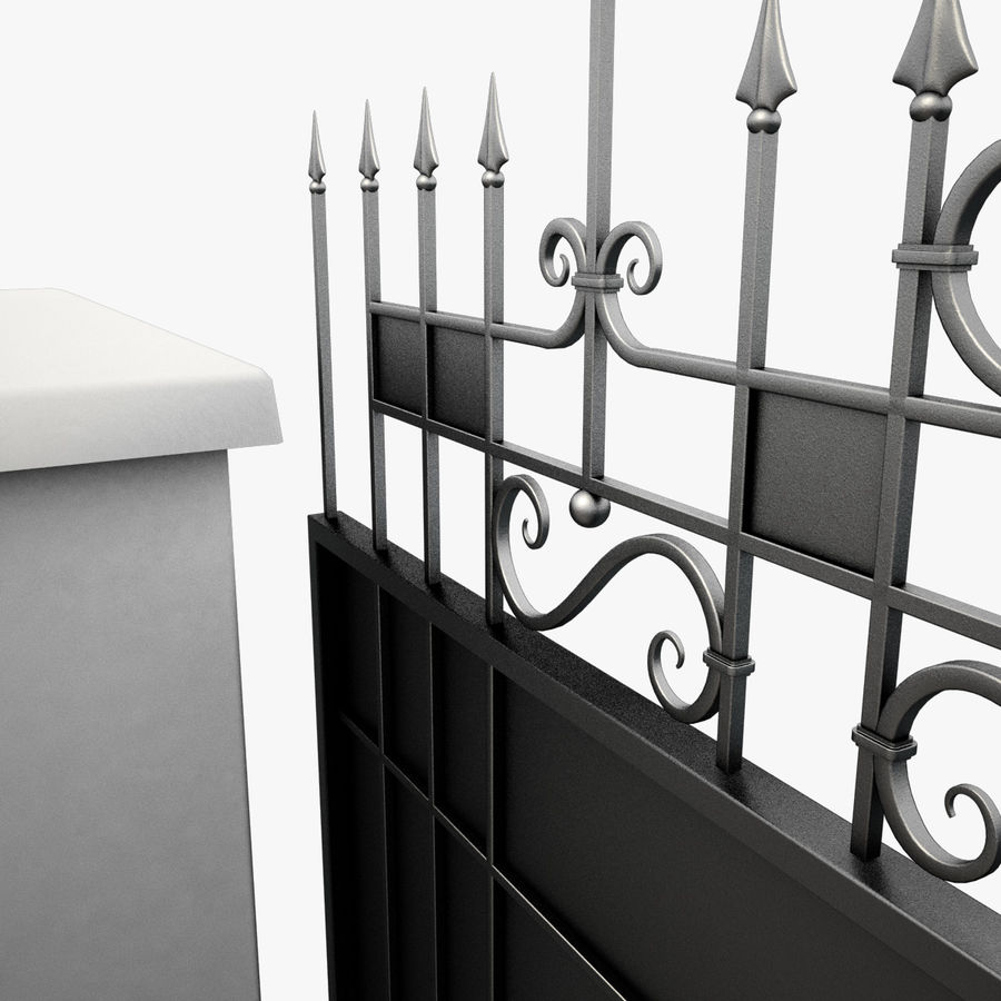 Wrought Iron Driveway Gate royalty-free 3d model - Preview no. 6