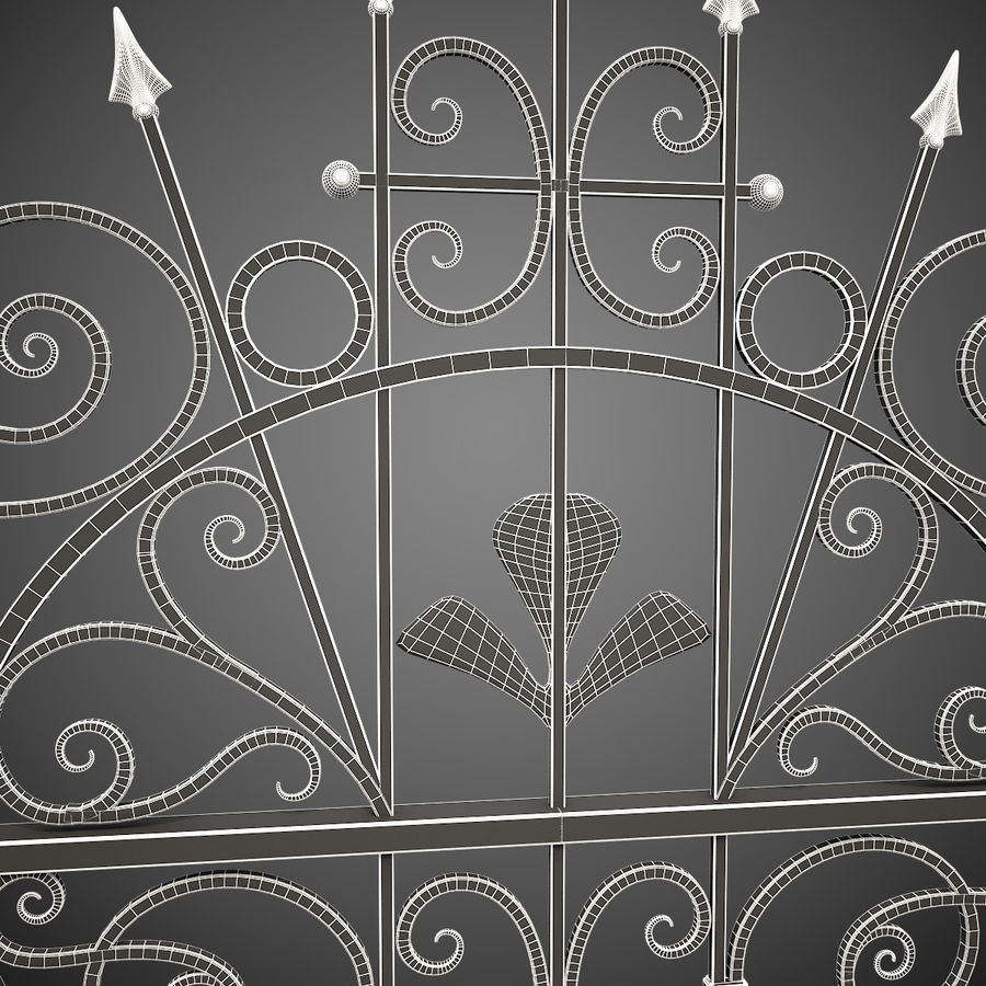 Wrought Iron Driveway Gate royalty-free 3d model - Preview no. 17