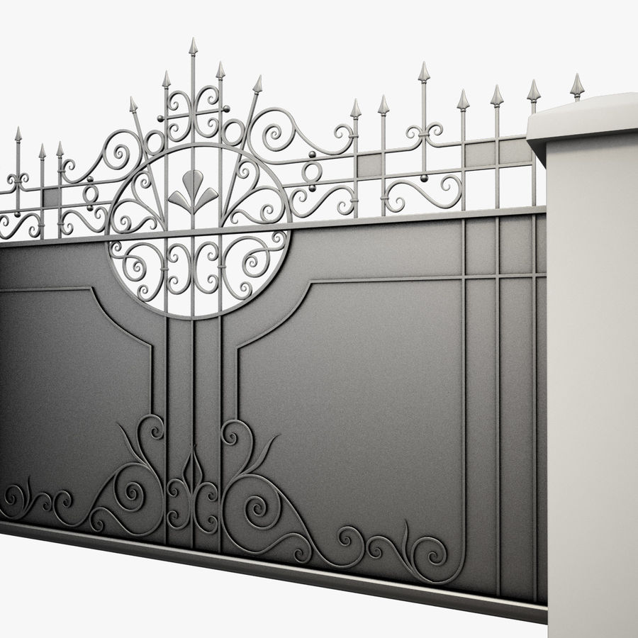 Wrought Iron Driveway Gate royalty-free 3d model - Preview no. 4