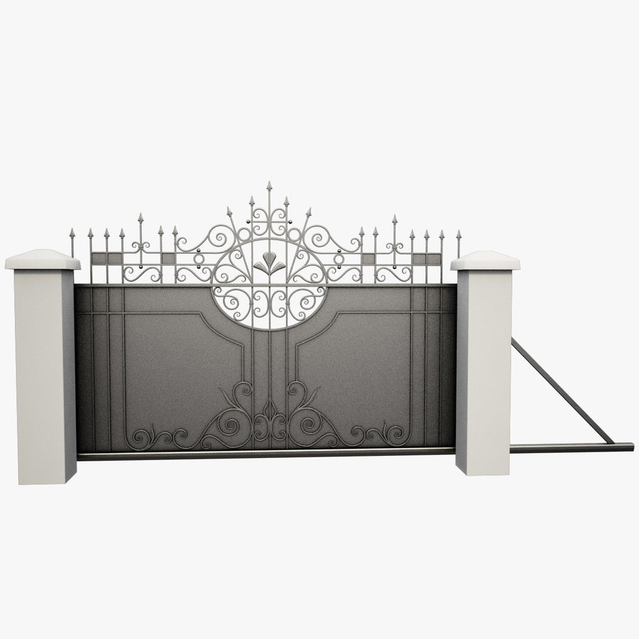 Wrought Iron Driveway Gate royalty-free 3d model - Preview no. 2